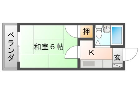 コーポ千暁 105号室 春日井市高蔵寺町 1K 間取り(間取)