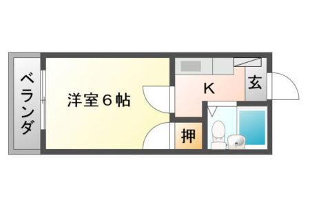 コーポ千暁 301号室 春日井市高蔵寺町 1K 間取り(間取)