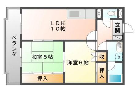 ベルメゾンⅠ 203号室 名古屋市守山区中志段味 2LDK 間取り(間取)
