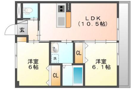 Shizuka 102号室 名古屋市守山区上志段味 2LDK 間取り