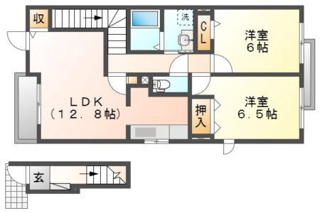 ハッピネス トモ 202号室 春日井市気噴町 2LDK ペット飼育可能 間取り(間取)